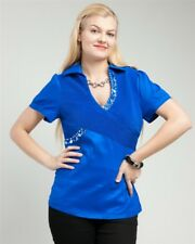 T23 Womens Blue Size 14/16 Short Sleeves Summer Career Beads Tops Work Blouse