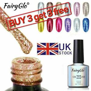 Fairyglo Gel Nail Polish Shinny Glitter Platinum Top Base Coat Manicure Lacquer