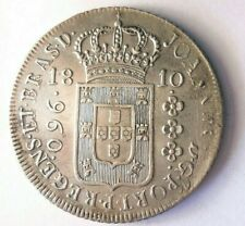 1810 BRAZIL 960 REIS - High Grade - Very Rare Silver Crown Coin - High Value N23
