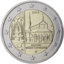 2 EURO COMMEMORATIVA GERMANIA 2013 CATTEDRALE DI BADEN-WURTTEMBERG ZECCA A RARA