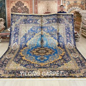 Large Handmade Silk Area Carpet 9x12ft Blue Traditional hand knotted Rug 414A