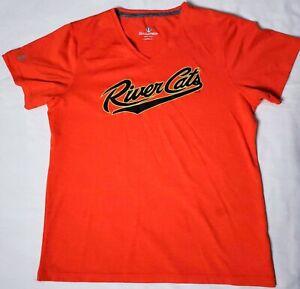 Sacramento Rivercats T-Shirt Orange Ladies Size L V-Neck SF Giants AAA Team
