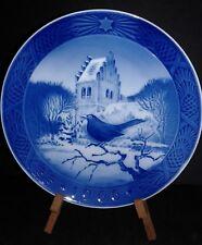 Vintage 1966 Royal Copenhagen Porcelain Christmas Plate Black Bird At Christmas