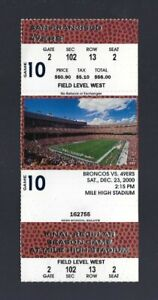 JERRY RICE FINAL GAME w/ 49ERS 2000 BRONCOS FINAL GAME @ MILE HIGH FULL TICKET