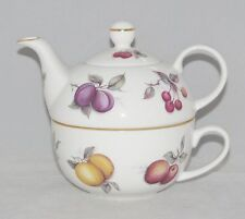 Fine English Bone China Tea for One Set  Stacked Teapot & Cup FRUIT