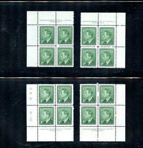 LOT 90106 MINT NH 284 P8 MATCHING SET PLATE BLOCKS KING GEORGE V1 CANADA