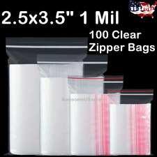 100 Bags 2.5x3.5 Small Clear Reclosable Zip Plastic Lock Packing Poly Zipper 1Mi