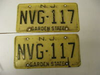 New Jersey NJ License Plate NVG-117 Pair