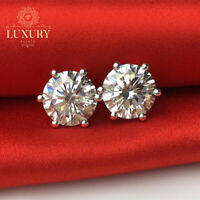 Round Cut Six Claws SONA Simulated Diamond Solid 925 Sterling Silver Earring