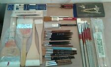 Lot 56 Vintage Paint Brushes and tools Bob Ross Grumbacker Blick Simmons Duncan