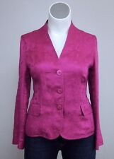 Jones New York 14 Magenta Pink Linen Floral Leaves Blazer Jacket Top No Collar
