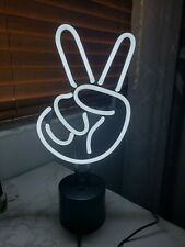 Amped & Co Bar Neon Table Light, Peace Sign Real Neon White New In Box