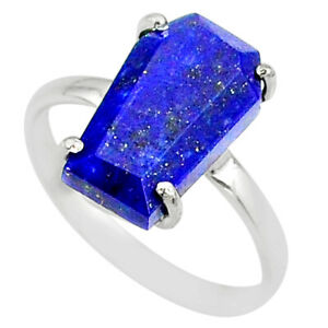Halloween Sale 5.54cts Coffin Natural Lapis Lazuli Solitaire Ring Size 9 R81775