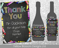 Personalised Wine Champagne Label Teacher Thank You Gift Crayons Assistant