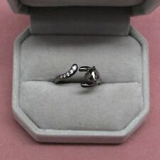 Black Sterling Silver Cat wrap ring cubic zirconia accents size 8    b2
