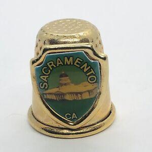 Sacramento California Souvenir Gold Tone Metal Thimble w/ Capitol