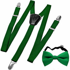 New in box Kid's Boy's girl's Suspenders Braces Bowtie clip on Emerald green