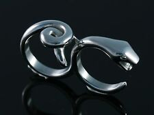 3D Snake Tail Fashion Two Finger Ring Stainless Steel Double US Size 8 NEW