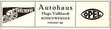 Autohaus Volkhardt Bodenwerder Reklame von 1934 Opel Triumph Werbung Motorrad Ad