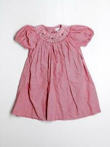 Toddler Girl Petit Ami Smocked Watermelon Red Gingham Dress Size 2T