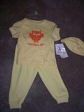 Nwt Girls Owl Yellow 3 Piece Shirt Pants & Hat Set Size 3-6 Months