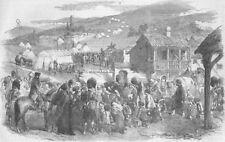 UKRAINE. The Inhabitants leaving Balaklava, antique print, 1854