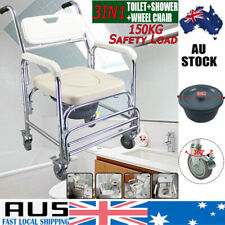 Aluminum Mobile Shower Toilet Commode Bathroom Bedside Chair Footrest Wheelchair
