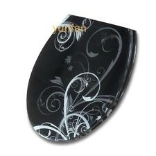 Clean O-Shape Black Pattern Resin Bathroom Accessories Toilet Seat Toilet Cover