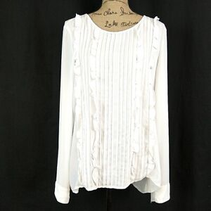 Halogen Womens sz L Top White Pleated Ruffle Long Sleeve Scoop Neck Button