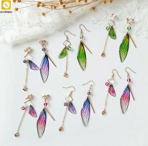 Butterfly Earrings Women Temperament Fairy Wings Drop Earrings Asymmetric Bride