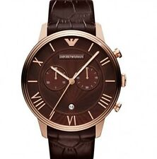 BRAND NEW EMPORIO ARMANI CHRONOGRAPH BROWN LEATHER MEN WATCH AR1616