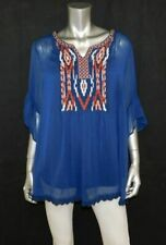 STYLE & CO WOMAN NWT Blue Embroidered V-Neck Overlay Blouse Plus sz 3X $59