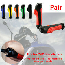 """22 mm CNC Motorcycle Scooter 7/8"""" 1"""" Rubber Handlebar Hand Grips Diamond Style"""