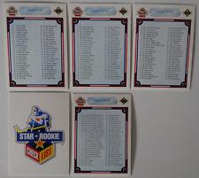 1990-91 Upper Deck UD Unmarked Checklist Team Set of 5 Hockey Cards