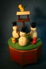 ERZGEBIRGE Ulbricht Music Box SNOW MEN Carved Wood Germany Twirling