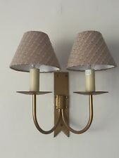 2 x Jim Lawrence Double Cottage Wall Lights in Old Gold with Oyster Silk Shades