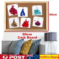 Wooden Frame Cork Board Pins Corkboard Notice Board 60cm x 90cm