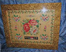 antique 19th silk? cross stitch sampler roses gilded gesso molded roses frame
