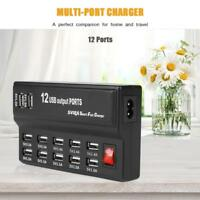 5V 10A 12Port USB Charger Adapter Home Wall Fast Charging Station Hub Durable