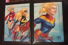 Ms. marvel Captain 2 Puzzler Rittenhouse sketch card Set by Stefanie Battalene M