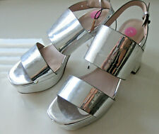 MONKI SILVER MIRROR STRAPPY SANDALS Block Heels High WEDGE PLATFORM SOLES 5 BNWT