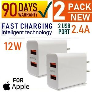 2-Pack - 12W Double USB Port Wall Cube Charger for iPad 3,4,5,6,7,Air,Air 2 [13
