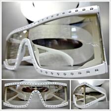 Classic Vintage Retro Style Clear Lens SUN GLASSES Bling Rectangular White Frame