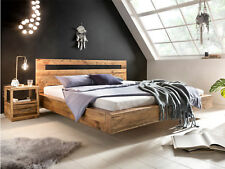 Bett Marton 180x200cm recycelte Pinie Echtholz Doppelbett Schwebeoptik Holz
