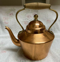 Vintage Tin Lined Copper Tea Pot Kettle Wood Handle Made in Portugal Decor