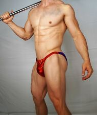 SHINY MEN'S RED/PURPLE POSING SUIT TRUNKS BODYBUILDER Muscle  $54.00 MEDIUM