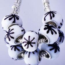 Hot 5Pcs Silver Gold Filled Glass Charm Bead Lampwork Loose European Bracelet