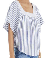 Madewell Butterfly Flutter Sleeve Top Striped Blue White XXL 2XL NEW