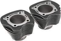 "Black Texture Silver Fin Cylinders Harley Davidson Milwaukee 8 M8 17-19 124 128"""