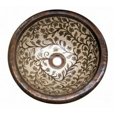 "Hand Painted Copper Sink Round Blissful 15x5"" and 17x5"""